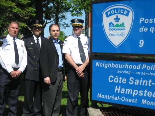 CSL Public Security Chief Michel Martel, Montreal Police Assistant Commander West Division Pierre Brochet, Councillor Glenn J. Nashen, Neighbourhood Police Station 9 Commander Sylvain Bissonnette