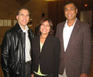 Glenn J. Nashen with Parkhaven residents Leila Fernandes and Ian Henriques