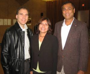 Glenn J. Nashen with Parkhaven residents Leila Fernandes and Ian Henriques