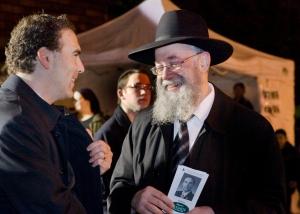 Glenn kibbitz's with Chazzan Yitchak Rosenberg of Beth Zion Congregation