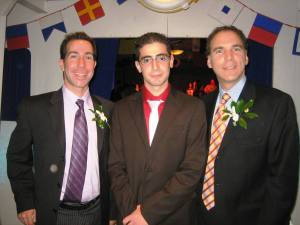 Mayor Anthony Housefather and Public Safety Councillor Glenn J. Nashen congratulate EMS volunteer Rafael Aroutunian