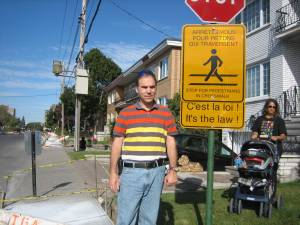Councillor Glenn J. Nashen initiated new high visibility crosswalk signage in Cote Saint-Luc such as the one pictured above as well as the middle-of-the-road flexi signs, among the first in Quebec.