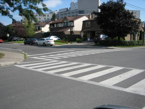 More visible crosswalks, like this one on Mackle and Einstein, will be the new norm near parks, playgrounds, schools and busy intersections in Cote Saint-Luc