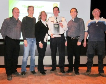 L-R: Former Public Security Chief Michel Martel, vCOP Supervisors Mitchell Herf and Susie Schwartz, Commander Sylvain Bissonnette, Councillor Glenn J. Nashen, vCOP Senior Supervisor Lewis Cohen