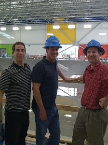 Mayor Anthony Housefather and Councillors Mitchell Brownstein and Mike Cohen proudly overlook construction of the competitive pool in 2011