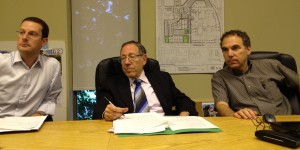 Mount Royal MP Irwin Cotler (centre) with Chief of Staff Howard Liebman) brief Cote Saint-Luc City Council (Glenn J. Nashen, right) on federal legislation matters.  Cotler sought support of his motion calling upon the federal government to request the International Olympic Committee to observe a minute of silence at the 2012 London Olympics in memory of the murdered Israeli athletes from the Munich Olympics in 1972.  Council adopted the resolution that night.