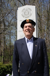 George Nashen in front of the Cote Saint-Luc cenotaph in Veterans Park