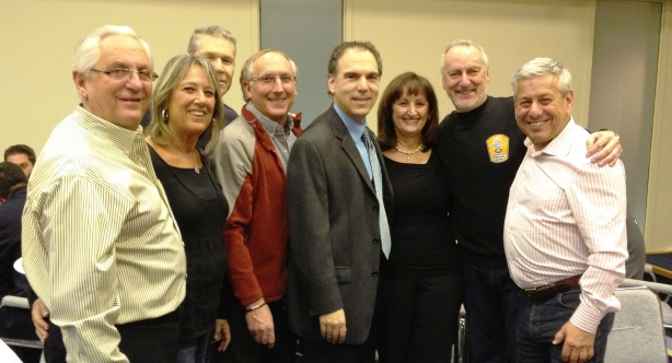 Happy patrollers:  (L-R) Harvey and Susie Schwartz, Mitchell Herf, Lewis Cohen, Glenn J. Nashen, Ruth Kovac, Dr. Gerry Trager, Peter Kovac