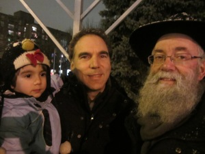 Councillor Glenn J. Nashen with son Jeremy and Reverend Yitzchak Rosenberg