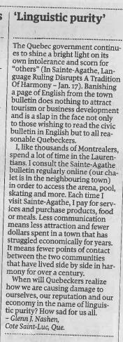 Globe and Mail, Letters, Jan. 18, 2013.  Click to enlarge.