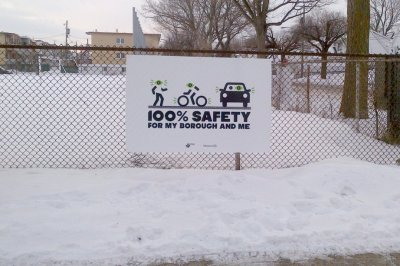 The OQLF decided this safety sign must come down as it doesn't conform to Quebec's repressive language laws