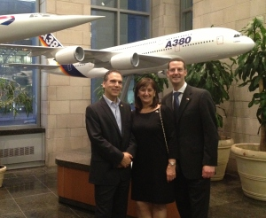 Councillors Glenn J. Nashen, Ruth Kovac and federal representative Howard Liebman in ICAO entry hall