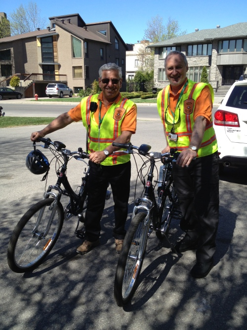vCOP members Peter Kovac and Gerry Trager getting ready to patrol on electric bikes