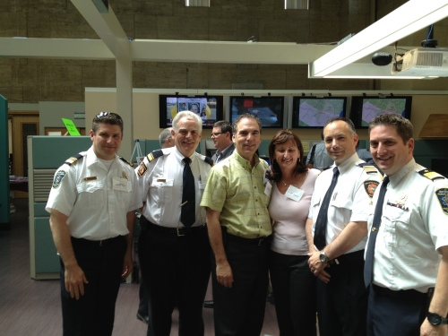 L-R: CSL Public Security Chief Jerome Pontbriand, Montreal Fire Department Section Chief Gordon Routly, CSL Cllrs. Glenn J. Nashen and Ruth Kovac, FD Assistant Director Rick Liebman, CSL PS Director Jordy Reichson