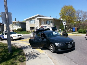 Resident Lewis Cohen witnessed the conclusion of this police chase on Wildwood Ave. Photo Lewis Cohen.