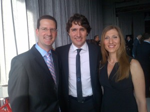 Local liberal love-in:  Howard and Heather Liebman greet Justin Trudeau
