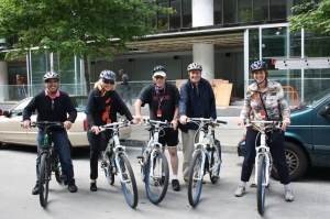 Hampstead Cllr. Leon Elfassy joins CDN-NDG Cllr. Helen Fotopolous and CSL Cllr. Dida Berku on an urban development bike tour