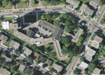 Aerial view of the current Griffith McConnell residence surrounded by Parkhaven Ave, Kildare Road and Trinity Ave