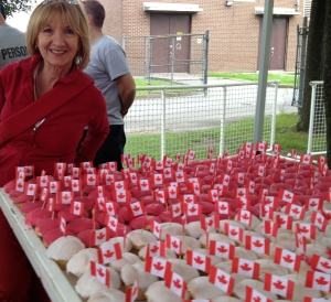 Longtime Parks and Rec staffer and current volunteer Louise Ferland prepares the cupcakes