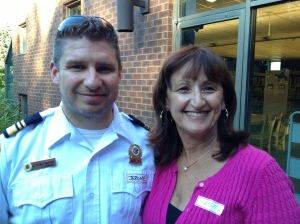 Public Safety Manager Jerome Pontbriand with Councillor Ruth Kovac
