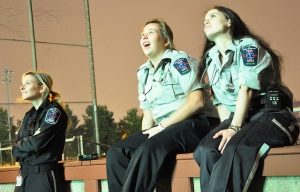 EMS volunteers take in the tremendous fireworks display Photo: Jacques Rioux.