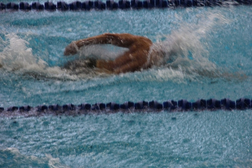 Mayor Anthony Housefather competing in the Maccabiah Games in Jerusalem this week, swimming in the 200M Freestyle