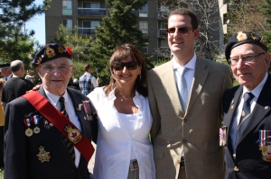 Mount Royal riding Chief of Staff Howard Liebman with Councillor Ruth Kovac and members of the Royal Canadian Legion Branch 97 at VE Day commemoration in Cote Saint-Luc last May