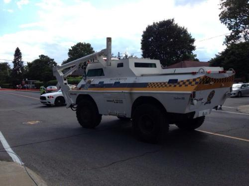 The Quebec Provincial Police (Surete du Quebec) sent in a tactical SWAT truck