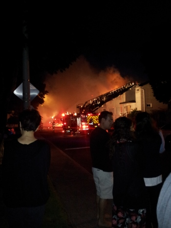 Flames light up Holland Road as firefighters arrive