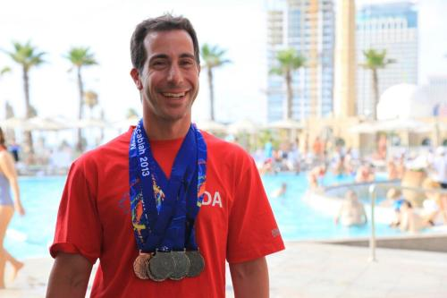 Anthony Housefather with his seven swimming medals at the Maccabiah Games in Israel, summer 2013