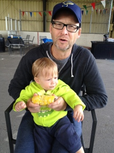 Bialik teacher Leslie Silverstein shared a corn on the cob with his son Mickey