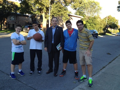 Local councillor Glenn J. Nashen meeting up with future voters Eli, Aaron with Zachary and his dad Jeff during an intense hoops session on Greenwood Ave
