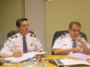 Police Commander Marc Cournoyer and Lieutenant J.P. Theoret meet with CSL City Council