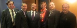 Councillors Sam Goldbloom, Mike Cohen, Dida Berku, Glenn J. Nashen and Allan J. Levine with MNA Lawrence Bergman