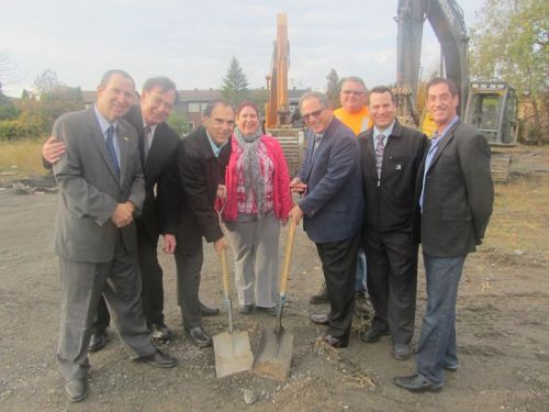 Members of CSL City Council join Joe and Jason Levine of Dubelle at the groundbreaking of new townhouses on Kellert Ave