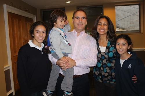 A very happy Nasen family receives the election results at City Hall, November 2013