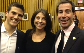 """Members - past and present -  of the Hampstead """"Youth Seat"""": Newly elected Councillor Warren Budning, Former Councillor Bonnie Feigenbaum, CSL Mayor Anthony Housefather"""