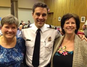 The commander's bodyguards: Elaine Meunier and Jill Saperstein