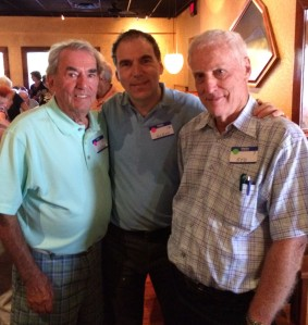 Enjoying lots of CSL camaraderie at Men's Club luncheon in Boca Raton with George Nashen (left) and Syd Kronish (right)