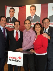 CSL Councillors Mitchell Brownstein, Glenn J. Nashen, Ruth Kovac and Sam Goldbloom support Mayor Anthony Housefather at his campaign launch seeking the Liberal Party nomination in Mount Royal riding in 2014