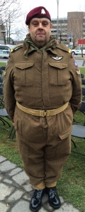 VE Day enactment of a vintage WWII RCAF paratroopers uniform