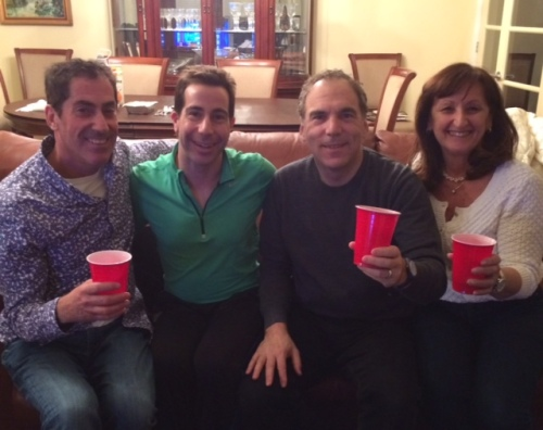 Mitchell Brownstein, Anthony Housefather, Glenn J. Nashen and Ruth Kovac tost the Liberal victory with red wine in red goblets