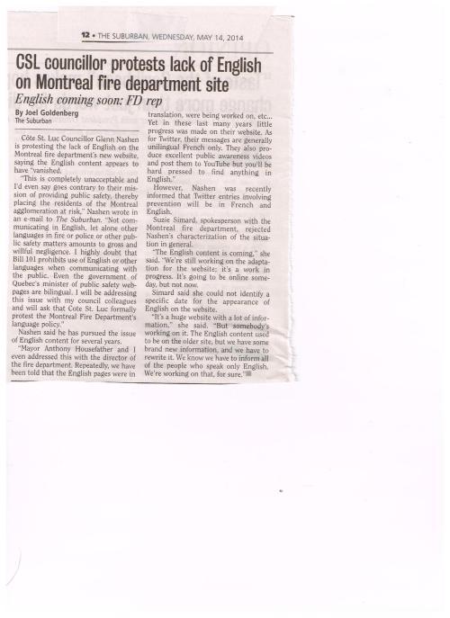 2014-05-14 CSL Cllr protests lack of English Mtl Fire Dept, Suburban