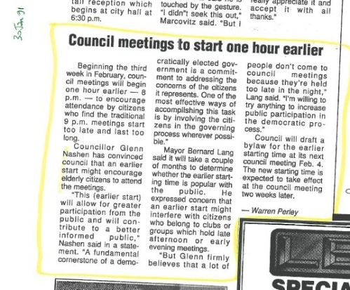 Council to start one hour earlier, 1991