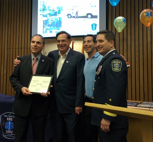 Receiving the Governor General's medal from Cllr. Sam Goldbloom, Mayor Anthony Housefather and Public Safety Director Jordy Reichson