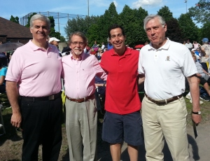 Mayors Beny Masela (Montreal West), Bill Steinberg (Hampstead), Anthony Housefather (Cote Saint-Luc, Peter Trent (Westmount)