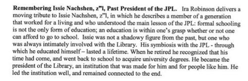 Excerpt from Minutes of the Jewish Public Library Board of Directors Meeting, November 16, 2010.