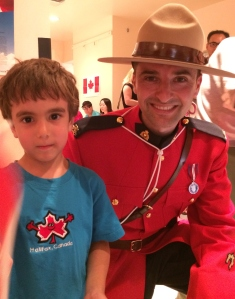 My son Jeremy may not show it but he was thrilled to meet this RCMP officer as well as the Mounted officers and their horses from the Montreal Police Department