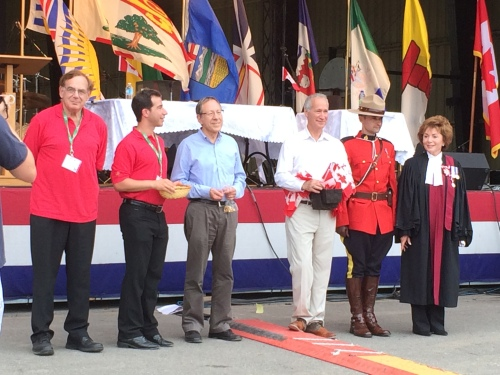 Cllr. Sam Goldbloom, Mayor Anthony Housefather, MP Irwin Cotler, MNA David Birnbaum, RCMP officer and Judge Barbara Seal in Cote Saint-Luc's Trudeau Park