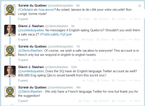 Conversation with the Quebec Police Force on Twitter, July 30, 2014